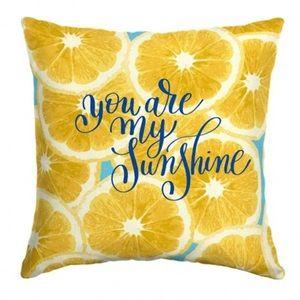 Other - Lemon Print Sunshine Indoor Outdoor Pillow Yellow